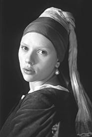 Scarlett Johansson's likeness to the painting is - uncanny.