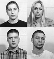 Scott's alleged attackers: Kirksey, Jansen, Nieves, - and Swancer (clockwise from top left).
