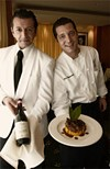 Server Oscar Califano (left) and Chef Luigi Iannuvario offer a tender osso buco paired with a well-balanced Barolo.