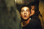Shia LaBeouf and Carrie-Anne Moss look suitably disturbed.