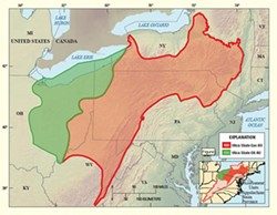 The Utica (green) and Marcellus (red) shale plays, i.e. the targets of oil and gas execs the world over. - USGS