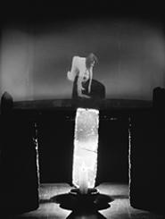 """Striding Crawling,"" hologram by Simone Forti."