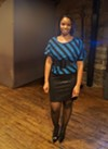 Tashawna Jackson, owner and designer of Tashawna J. Couture.  Jackson has been designing for two years. She attended design school for a while, and then returned to Cleveland to work towards opening a store. Last night was her first show.