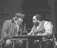 "Tevye (Tom Fulton, left) and Lazar Wolf (Noah Budin), - basking in their ""gotcha"" moment."