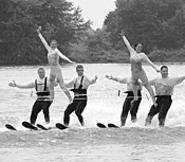 The Chippewa Lake Water Ski Show Team's human - pyramid climbs to new heights.