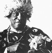 The late Sun Ra and his Mr. Bigglesworth-looking feline.