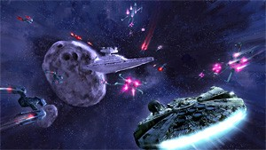 The Millennium Falcon and the Star Destroyer, locked in battle. Yes, we're nerds.