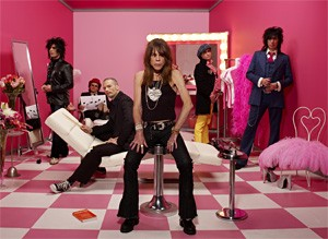 The New York Dolls fix their sagging faces before their Beachland show.