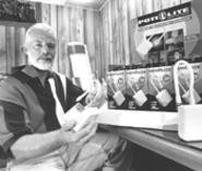 The royal flush: Don Horn with a stack of his 20,000 pottyless Poti-Lites. - WALTER  NOVAK