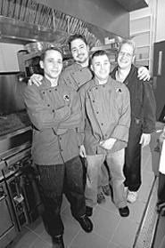 The Vue crew (left to right): Sous chef Matt Buynak, - head chef Gregg Korney, sous chef Rob Elliott, and - GM Tony Colazzo. - WALTER  NOVAK