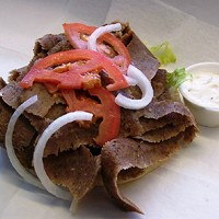 10 Awesome Gyros in Cleveland There is a reason why this area gyro joint is called Best Gyros. They have a giant gyro called the Cleveland Special Gyro. Filled with over a pound of meat, the pita is then packed with onions, lettuce, tzatziki  sauce, and- wait for it- perogies. Best Gyros is located at 2245 Lee Rd, Cleveland Heights. Photo Courtesy of Steve's Gyro, Facebook