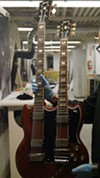 This is a six-string bass and six-string guitar. At the time, Gibson would custom make any double neck guitar you wanted. Any combination. This was provided to Elvis for the film Spin-out. He liked it so much, he bought the guitar.