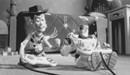 Toys will be toys: Woody and Buzz enjoy some friendly competition.
