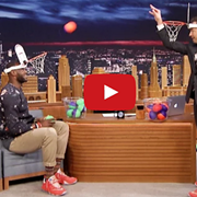 """Video: Jimmy Fallon Dunks on LeBron James in a Game of """"Faceketball"""""""