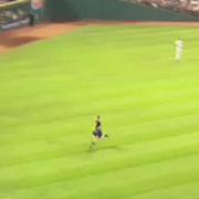 Video: Indians Fan Bolts Across Field, Scales Outfield Wall
