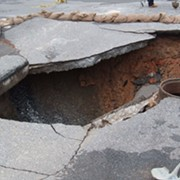 East Side Sinkhole Swallows Cleveland Water Department Van