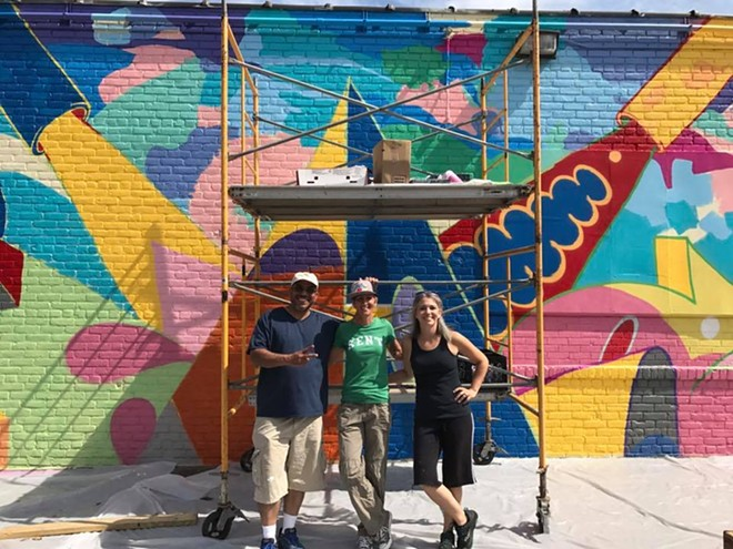 From left to right: Chicago-based artist Ish Muhammad, Graffiti HeArt president and founder Stamy Paul and Cleveland artist Eileen Dorsey