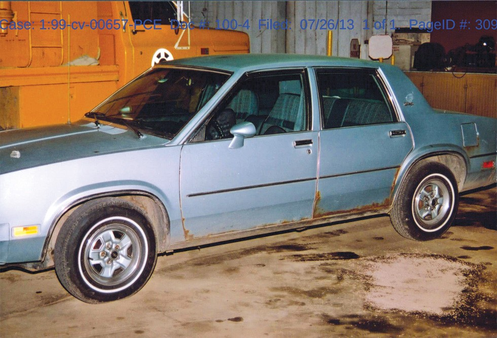 Kevin Keith's girlfriend's grandfather's car—the alleged getaway car. - PHOTO COURTESY OF BUCYCRUS POLICE DEPARTMENT