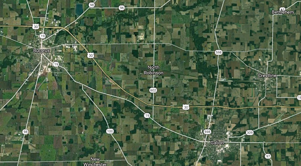 Crawford County includes Bucyrus, Galion and Crestline along State Rt. 30 - IMAGE COURTESY OF GOOGLE MAPS