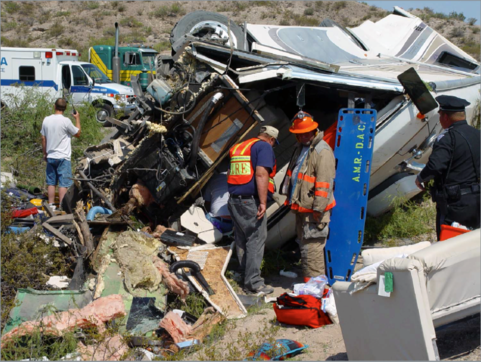 The crash scene involving the Haeger family, whose RV had Goodyear G159 tires. - PHOTO COURTESY DAVID KURTZ