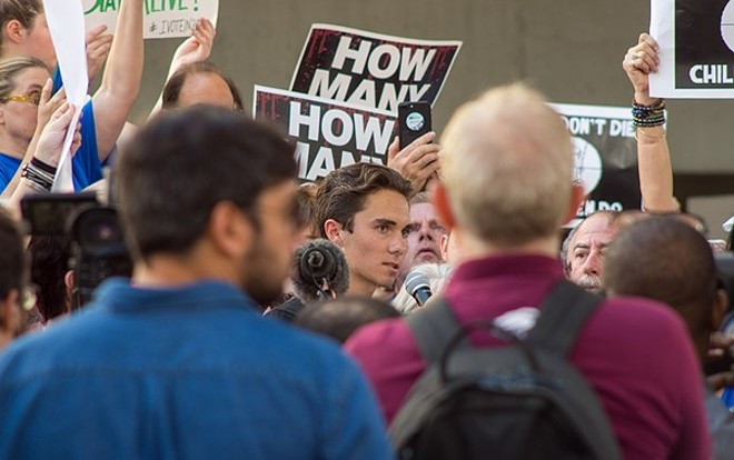 DAVID HOGG SPEAKING IN FORT LAUDERDALE AT RALLY ON FEB. 17, 2018. PHOTO BY BARRY STOCK