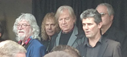 Rock Hall CEO Greg Harris and members of the Moody Blues.