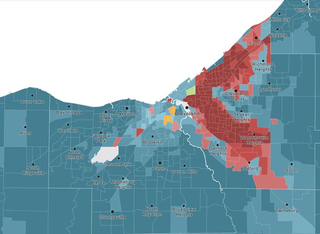 RED: BLACK POPULATION DENSITY. BLUE: WHITE POPULATION DENSITY. GREEN: ASIAN POPULATION DENSITY. ORANGE: HISPANIC/LATINO POPULATION DENSITY.