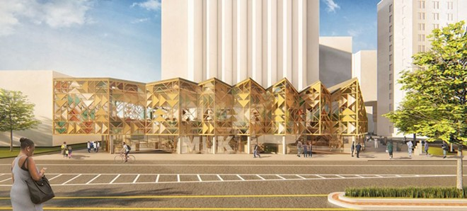 An exterior view of the MASS & LDA proposal for the Cleveland Public Library's new Martin Luther King Jr. Branch as viewed from across Euclid Avenue east of East 105th Street. - MASS & LDA