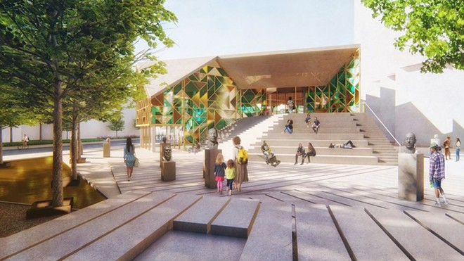 An exterior view of the MASS & LDA proposal for the Cleveland Public Library's new Martin Luther King Jr. Branch as viewed from the east looking west across a main entry plaza. - MASS & LDA