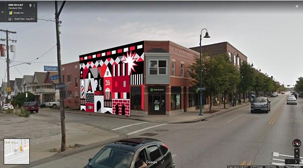 A mockup of Ryan Jaenke's mural on the Butcher Building - GSAD MURAL PRESS RELEASE