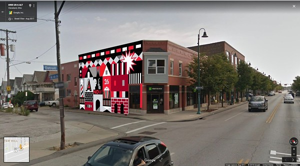 A mockup of Ryan Jaenke's mural on the Butcher Building - GSAD MURAL PRESS RELEASE