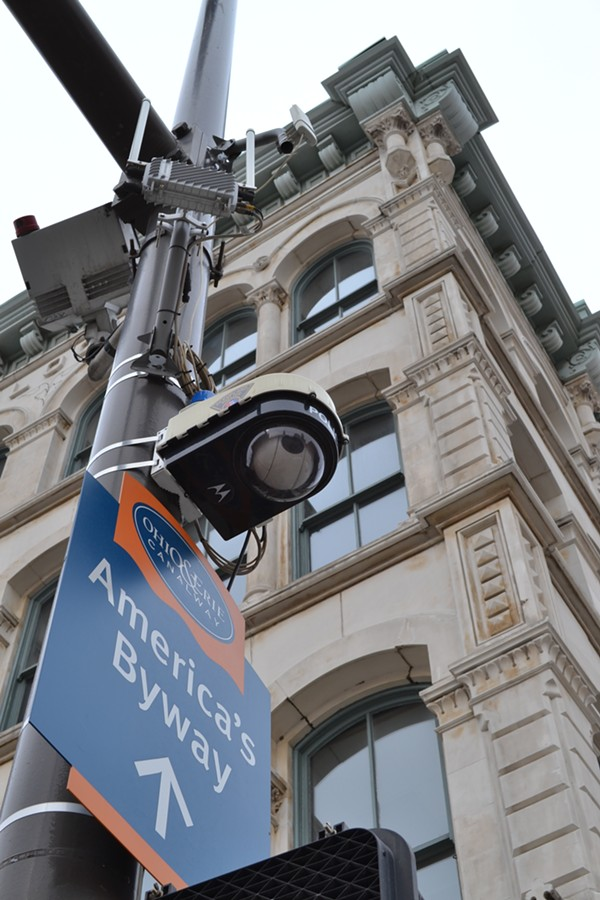 This surveillance camera on the corner of St. Clair and West Sixth - DOUG BROWN/CLEVELAND SCENE
