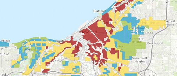 The red color indicates neighborhoods redlined in the 1930s. - CASE WESTERN RESERVE UNIVERSITY