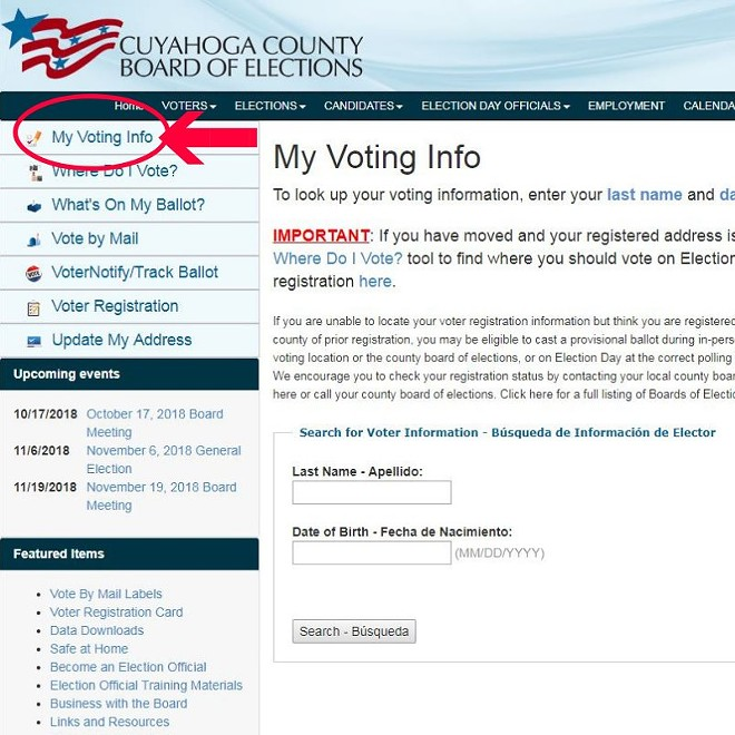 CUYAHOGA COUNTY BOARD OF ELECTIONS WEBSITE