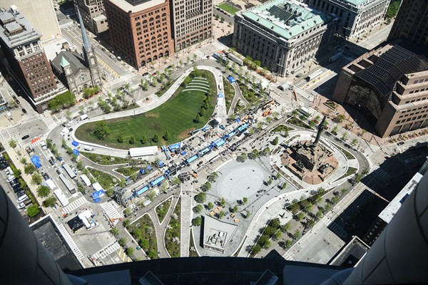 The view of Public Square as seen from the Terminal Tower observation deck. - PHOTO VIA ERIK DROST/FLICKR CC
