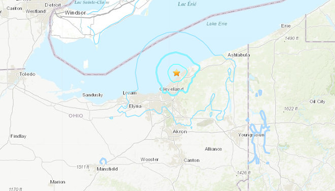 USGS MAP OF TODAY'S EARTHQUAKE ZONE