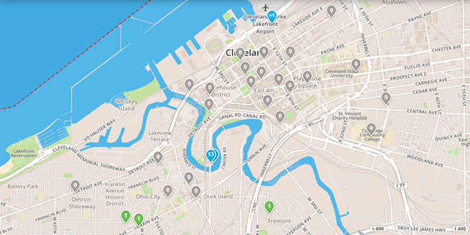 Availability of UH Bikes, 7/30/19. (Note the concentration near Rivergate Park in the Flats.) - SCREENSHOT: UHBIKES.COM/MAP