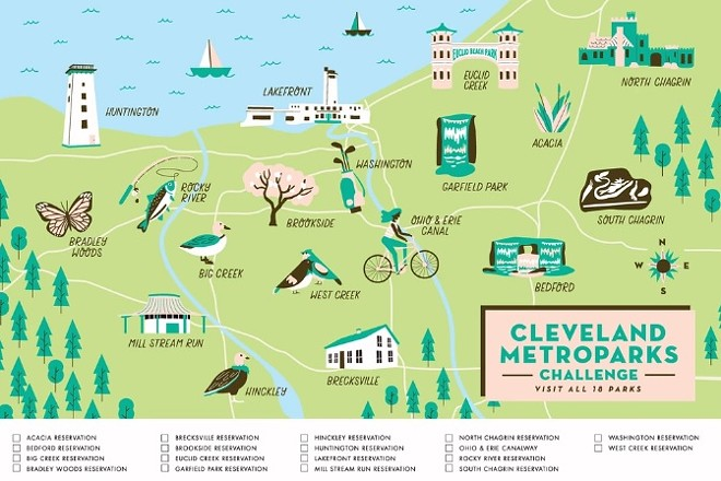 The Cleveland Metroparks Challenge Map - COURTESY FREE PERIOD PRESS