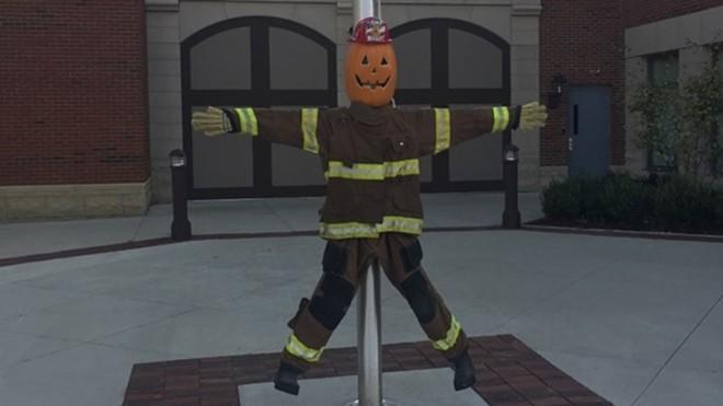 The Violet Township Fire Department's scarecrow, Sparky - PHOTO VIA BELLE COMMUNICATION