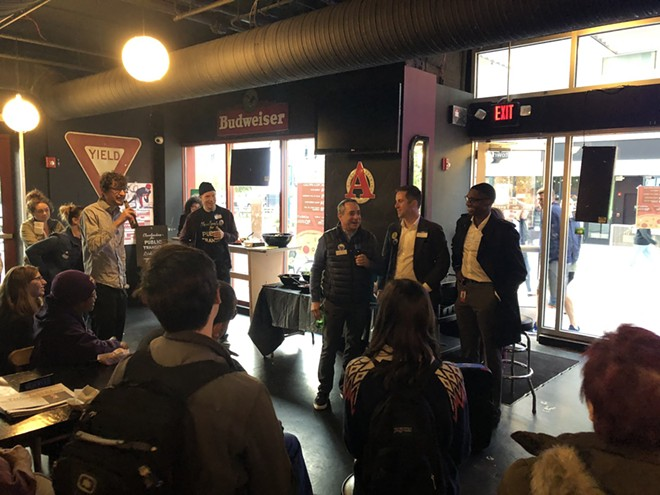 CPT's Chris Stocking on the mic, and City Councilmen Matt Zone, Kerry McCormack and RTA trustee Justin Bibb at HealthLine event (10/24/2019). - TWITTER: @CLEFORTRANSIT