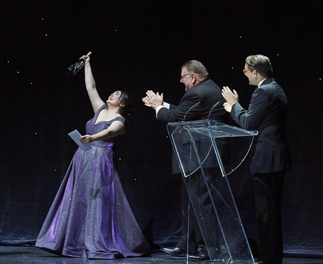 From left to right, Midori Marsh with host Ben Heppner and Canadian Opera Company General Director Alexander Neef. - MICHAEL COOPER
