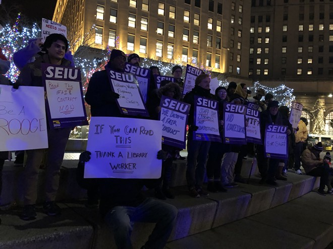 SEIU and community members rally for library workers on Public Square, (12/13/19). - SAM ALLARD / SCENE
