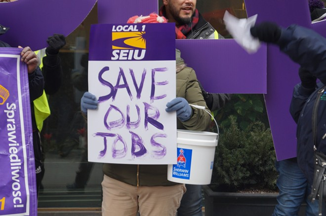 SEIU Local 1 and their allies rally to save janitor jobs at Sherwin-Williams, (1/23/2020). - SAM ALLARD / SCENE