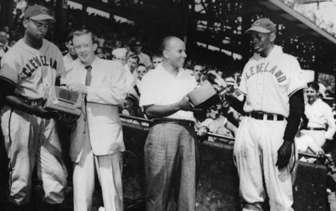 LARRY DOBY AND SATCHEL PAIGE RECEIVE AWARDS, 1948 (CLEVELAND MEMORY PROJECT)