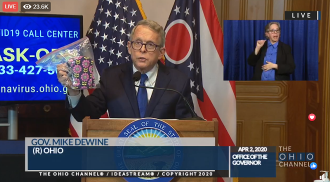 MIKE DEWINE HOLDING THE ENEMY OF FREEDOM AND LIBERTY AND THE AMERICAN WAY/ THE OHIO CHANNEL