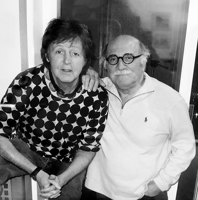 The late Tommy LiPuma (left) with Paul McCartney. - COURTESY OF BEN SIDRAN, NARDIS PRESS