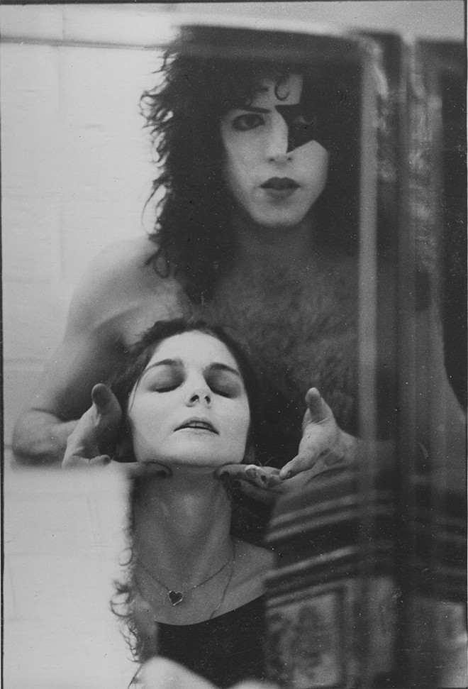 Jaan Uhelszki gets the KISS treatment with Paul Stanley. - BARRY LEVINE