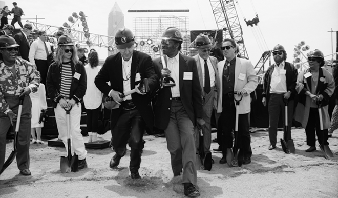 Pete Townshend and Chuck Berry do the duckwalk at the Rock Hall's groundbreaking ceremony. - JANET MACOSKA