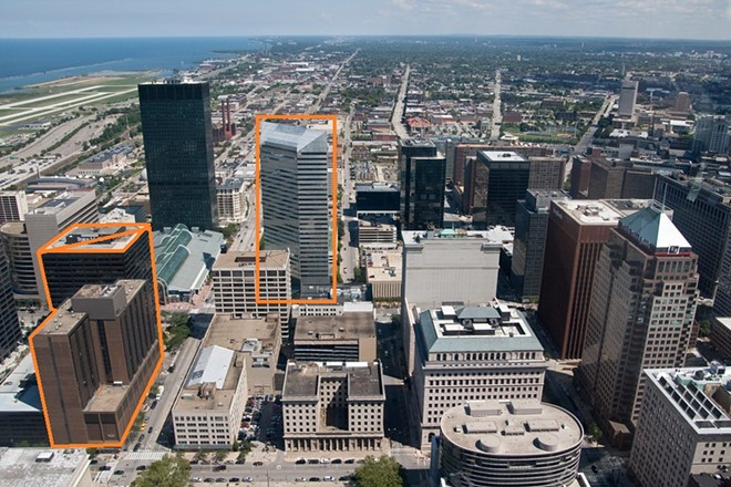 """Three of the Optima Ventures current and former properties: Crowne Plaza Hotel, AECOM Building, One Cleveland Center - """"IMG_2485""""BY JEFFPYLE IS LICENSED UNDER CC BY-NC-ND 2.0"""