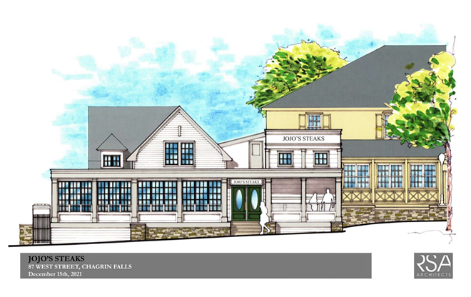 The latest renderings of JoJo's Steak in Chagrin Falls showing expanded footprint. - RSA ARCHITECTS